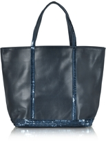 Vanessa Bruno Cabas Petite Blue Leather Small Tote Bag
