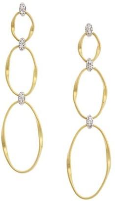 Marco Bicego Marrakech Onde 18K Yellow Gold & Diamond Coil Triple-Drop Hoop Post Earrings