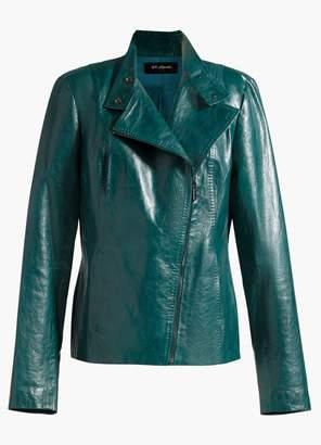 St. John Asymmetrical Zip Glossy Leather Jacket