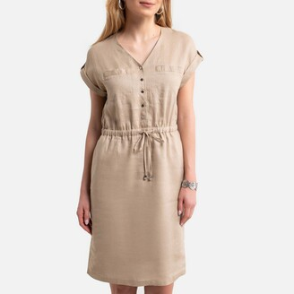 Anne Weyburn Linen Shift Dress with Short Sleeves