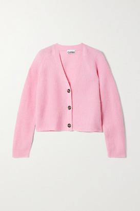 Ganni Cropped Ribbed-knit Cardigan - Pink