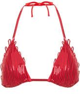 Magic Fuchsia sequin soutache triangle bikini top