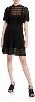 M Missoni Mock-Neck Flutter-Sleeve Lace Dress