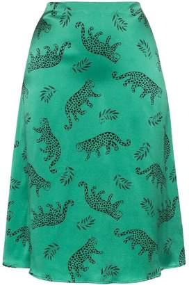 HVN leopard print silk midi skirt