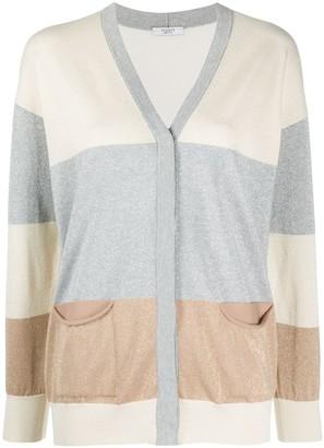 Peserico Colour Block Fine Knit Cardigan