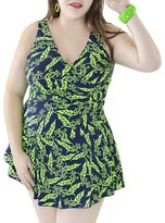 QZUnique Women's Plus Size Swimdress Printed Sexy Tankini Swimsuit with Shorts 60