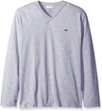 Lacoste mens Long Sleeve Jersey Pima V-neck T-shirt T Shirt