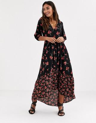 Pimkie floral printed midi dress in black
