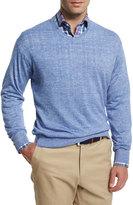 Peter Millar Wool-Linen V-Neck Sweater