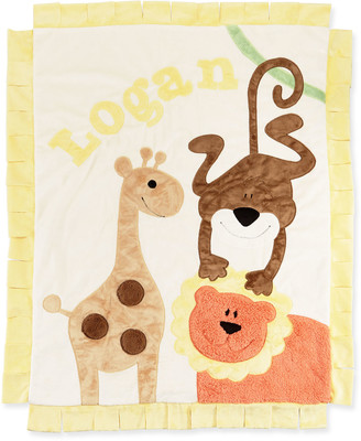Boogie Baby Personalized Wild Ones Plush Blanket, Cream