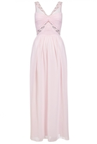 Quiz Pink Chiffon Diamante Twist Front Maxi Dress