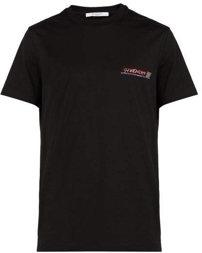 Givenchy Sequined Logo Embroidered Cotton T Shirt - Mens - Black