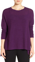 Eileen Fisher Merino Wool Ballet Neck Elliptical Hem Sweater
