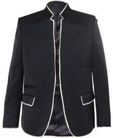 Alexander McQueen Navy Raw-Edge Wool Blazer