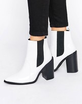 Sol Sana Lori White Patent Leather Heeled Ankle Boots