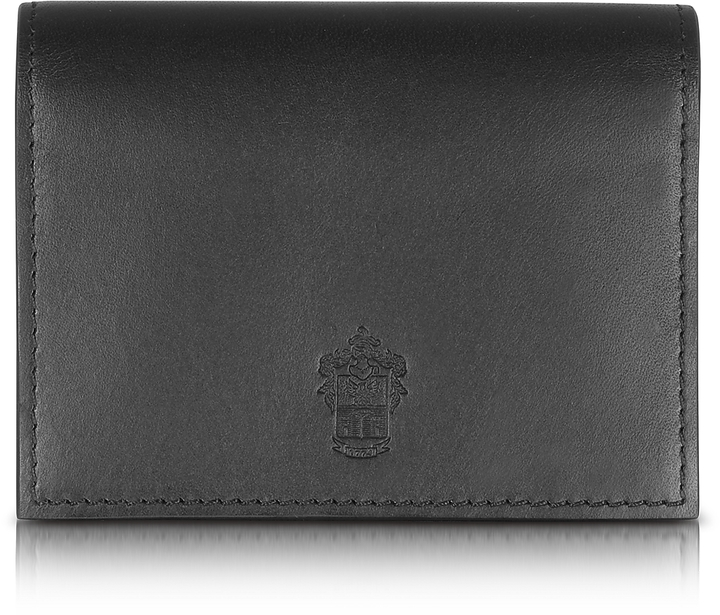 Pineider Power Elegance Double Black Leather Card Holder