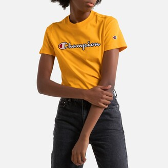 Champion Cotton Embroidered Logo T-Shirt with Short Sleeves