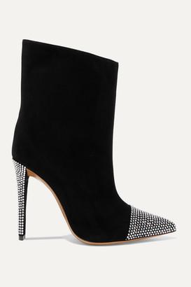 Alexandre Vauthier Christie Crystal-embellished Suede Ankle Boots - Black