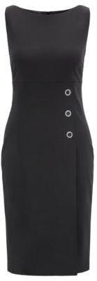 HUGO BOSS Slim Fit Shift Dress With Silver Rings - Black