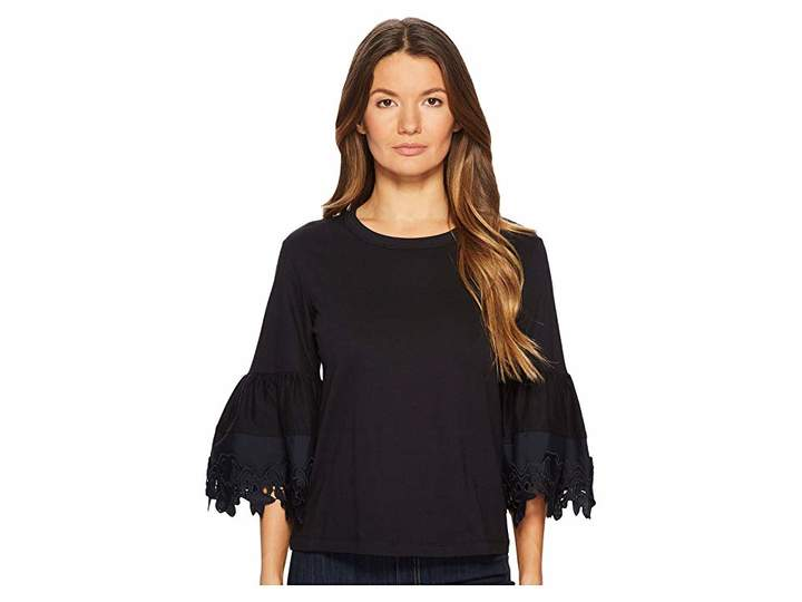See by Chloe T-Shirt with Lace Trim Bell Sleeves