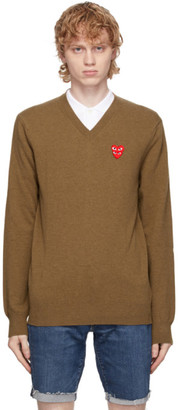 Comme des Garcons Brown Double Heart V-Neck Sweater