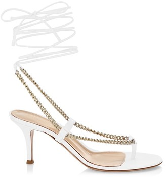 Gianvito Rossi Chain-Trimmed Ankle-Strap Leather Thong Sandals