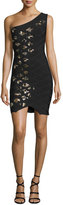 Herve Leger One-Shoulder Embellished Bandage Dress, Black