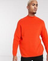 Bershka ribbed sweater with high neck in orange