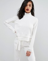 Minimum High Neck Top With Sleeve Detail