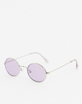 ASOS DESIGN round sunglasses in silver metal with lilac lens