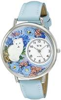 Whimsical Watches White Cat Baby Blue Leather and Silvertone Unisex Quartz Watch with White Dial Analogue Display and Multicolour Leather Strap U-0120014