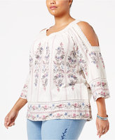 Style&Co. Style & Co Plus Size Floral-Print Cold-Shoulder Top, Only at Macy's