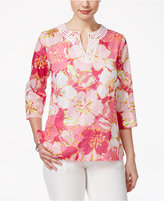 Alfred Dunner Petite Reel It In Cotton Floral-Print Top