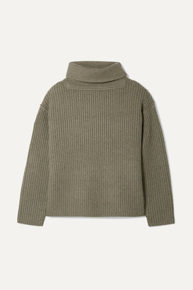 Alexander Wang Oversized Ribbed Wool-blend Turtleneck Sweater - Army green