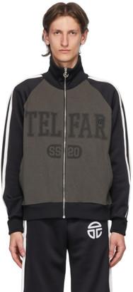 Telfar Black and Grey Raglan Track Jacket