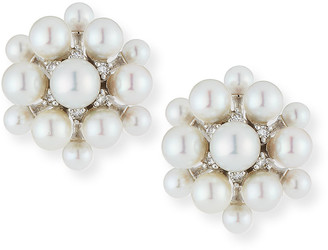 Paul Morelli 18k White Gold Pearl & Diamond Orbit Earrings