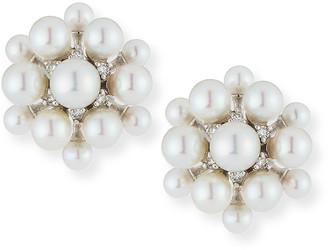 Paul Morelli 18k White Gold Pearl & Diamond Orbit Earrings