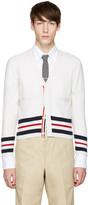 Thom Browne White Classic Short V-neck Cardigan