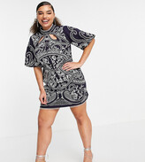 Asos DESIGN Curve embroidered structured mini dress with high neck