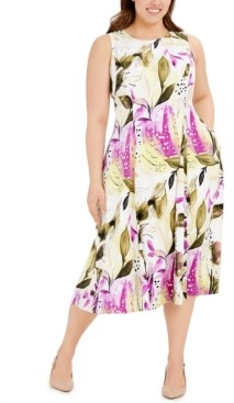 Alfani Plus Size Sleeveless Floral-Print Fit & Flare Dress, Created for Macy's