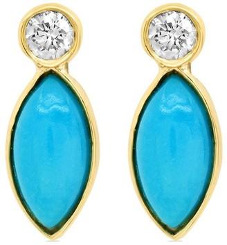 Jennifer Meyer 18kt Yellow Gold Diamond Bezel Turquoise Marquise Earrings