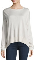 Brunello Cucinelli Cashmere-Silk High-Low Sweater, Cream