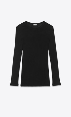 Saint Laurent T-shirt And Jersey Long-sleeve Shirt In Ribbed Jersey Black L