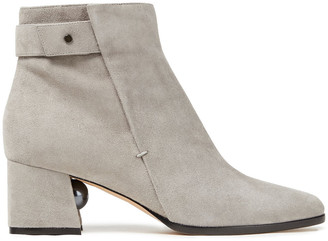 Nicholas Kirkwood Faux Pearl-embellished Suede Ankle Boots