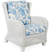 One Kings Lane Francisco Armchair, White/Blue
