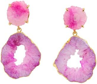 Yaa Yaa London Pastel 'Summer Love' Gemstone Gold Statement Earrings