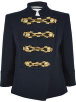 Pierre Balmain Embroidered Cotton-twill Jacket - Navy