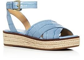 MICHAEL Michael Kors Women's Abbott Croc-Embossed Espadrille Sandals