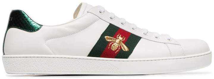 Gucci white Ace Bee striped leather sneakers