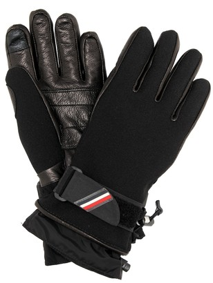 MONCLER GRENOBLE Leather-trimmed ski gloves